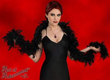 """Burlesque Gothic 6ft Black Feather Boa Halloween Costume Chandelle Scarf 72"""" F05"""