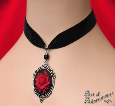 Victorian Gothic Black Red Rose Cameo Velvet Choker Silver Pendant Necklace C81