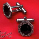 Black Gothic Art Deco Cufflinks Antique Silver 1920s Style Wedding Formal P10