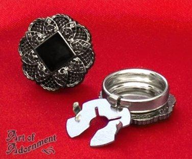 2x Gothic Black Gunmetal Filigree Cuff Button Covers Mandarin Collar Silver P36
