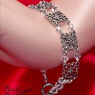 Victorian Antique Silver Clear Crystal Bracelet Bridal Filigree Beaded Links W43