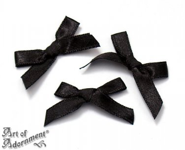 12pcs Black Fabric SATIN RIBBON BOW APPLIQUES 35mm Sew-On Bow Craft Applique