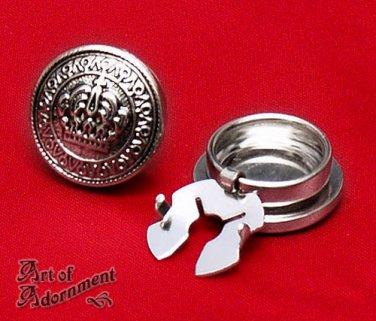 2x Gothic Silver Cuff Button Covers Crown Mens Mandarin Collar Victorian P05