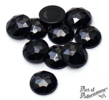 10pcs Jet Black ACRYLIC RHINESTONES FLATBACKS Round 16mm Faceted Cabochons Opaque