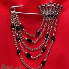Gothic Victorian Black Crystal Rhinestone Crown Brooch Pin Antique Silver Chain V14