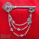Victorian Crystal Rhinestone Skeleton Key Brooch Silver Plated Filigree Chain P49