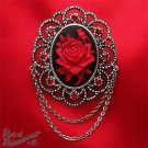 Victorian Gothic Black Red Rose Cameo Brooch Pin Antique Silver Rhinestone P35