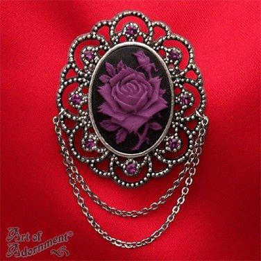 Victorian Gothic Black Purple Rose Cameo Brooch Pin Antique Silver Rhinestone P44