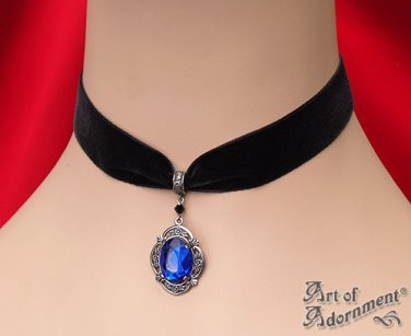 Victorian Gothic Blue Crystal Silver Pendant Black Velvet Choker Necklace C26