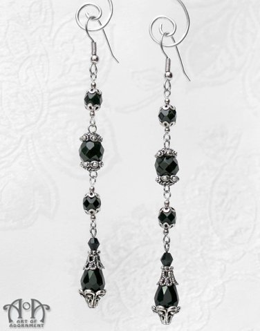 1920s Flapper Long Black Glass Teardrop Drop Earrings Antique Silver Gothic E30