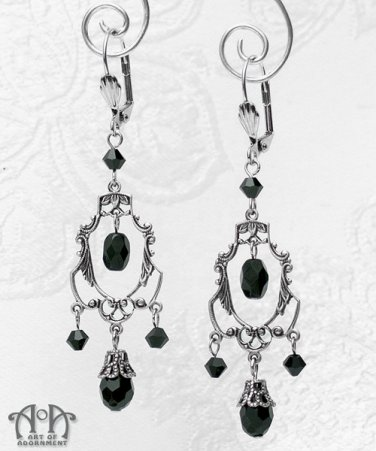 Victorian Gothic Black Crystal Chandelier Earrings Antique Silver Filigree E06