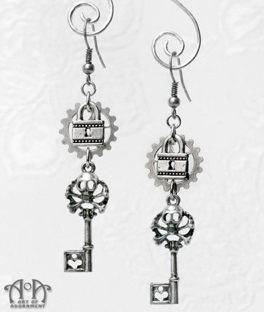 Steampunk Gothic Skeleton Key Lock Earrings Silver Skull Filigree Gears Keys E54