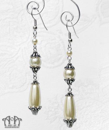 Victorian Ivory Glass Pearl Earrings Cream Tear Drop Silver Bridal Wedding E22