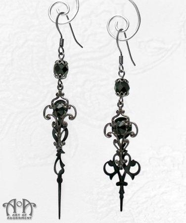 Steampunk Gothic Black Crystal Clock Hand Earrings Gunmetal Filigree Hands E39