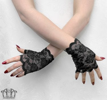 Gothic Black Stretch Lace Fingerless Gloves Short Wrist Length Steampunk EGL G03