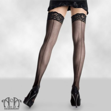 Black PLUS SIZE Sheer Back Seam Thigh Highs Lace Top Tights Gothic Burlesque S09Q