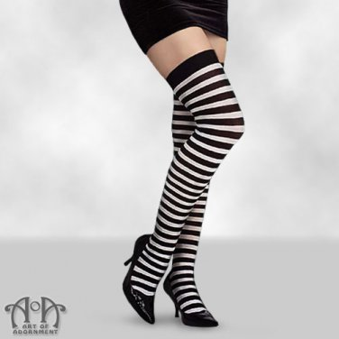 Black White Striped Thigh Highs Tights Opaque Horizontal Stripe Gothic Punk S10