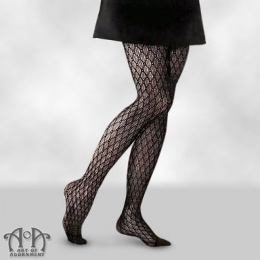 Black Crochet Fishnet Pantyhose Lace Net Tights Gothic Punk Mesh S13