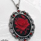 Gothic Black Red Rose Flower Cameo Necklace Victorian Pendant Antique Silver D42