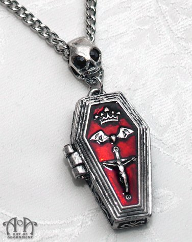 Gothic Punk Skull Coffin Locket Necklace Antique Silver Red Bat Cross Pendant D61