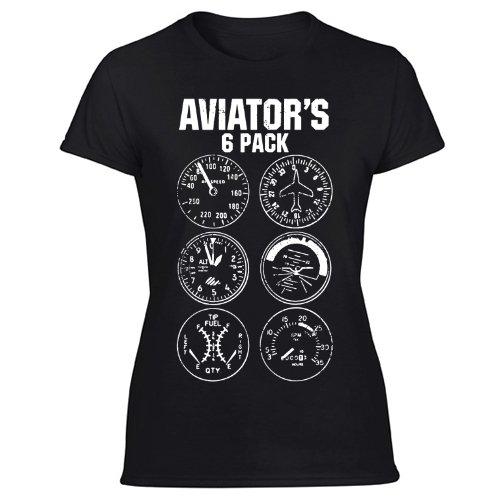 Aviator Six Pack Funny Pilot Travel Humor Vacation Flight Novelty Women's Black T Shirt