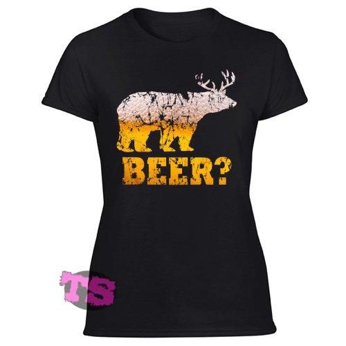 Beer Bear Deer Antlers Suds Funny Drinking Women's Black T Shirt