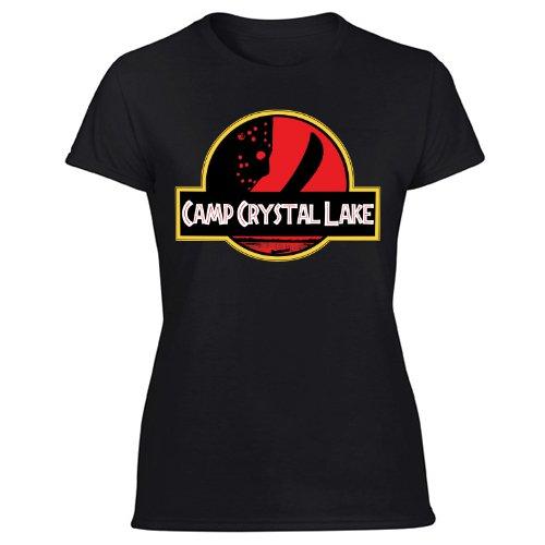 Camp Crystal Lake Jurassic Park ParodyWomen's Black T Shirt