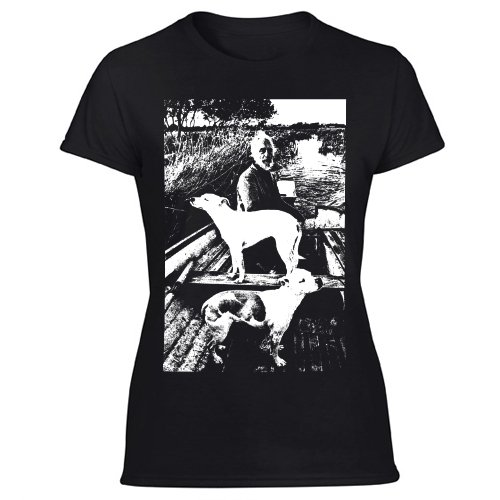Goodfellas Painting T-Shirt Old Man with Two Dogs Women's Black T Shirt