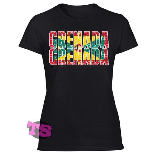 Grenada Flag Women's Black T Shirt