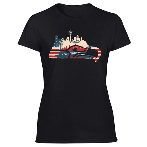 New Seattle State Seahawks Outline City Skyline Washington Pride Women's Black T Shirt
