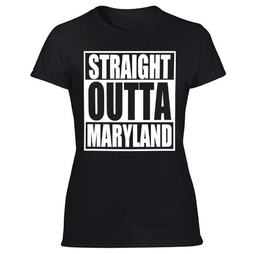 Straight Outta MD T-Shirt Maryland Flag Parody Women's Black T Shirt
