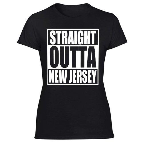 Straight Outta NJ T-Shirt New Jersey Flag Parody Women's Black T Shirt