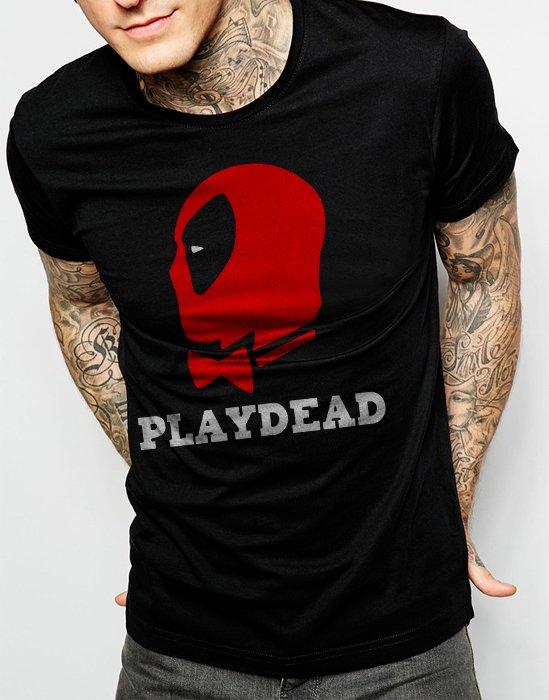 DEADPOOL PLAYDEAD Men Black T-shirt Funny Tee