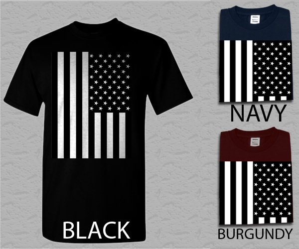 Men T Shirt American Flag Black and White Adult T-Shirt S - XXL