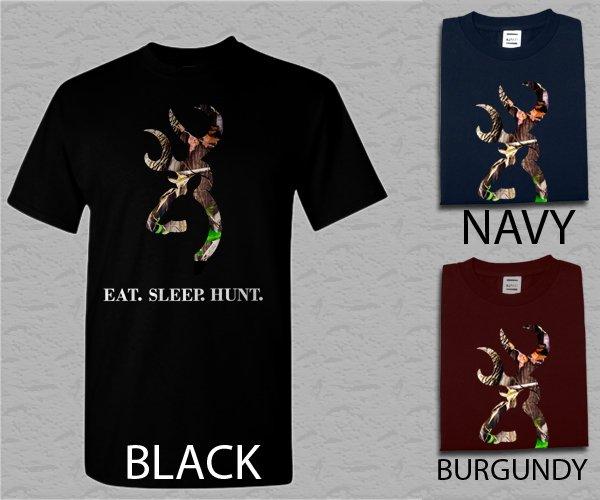 Men T Shirt Browning Camo Logo Deer Hunter Eat Sleep Hunt Adult T-Shirt S - XXL