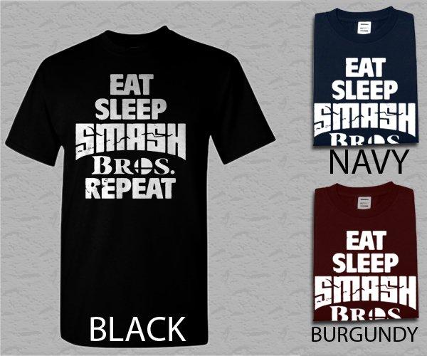 Men T Shirt Eat Sleep Smash Bros Repeat Gamer Adult T-Shirt S - XXL
