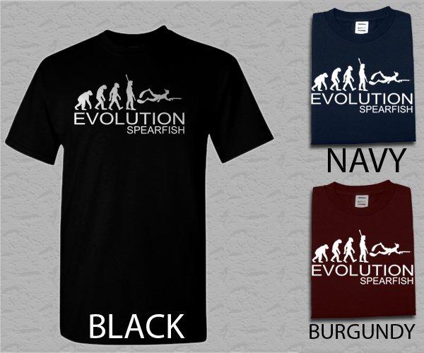 Men T Shirt Spearfishing Evolution of man Adult T-Shirt S - XXL