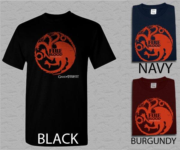 Men T Shirt Targaryen Fire & Blood Dragon Adult T-Shirt S - XXL