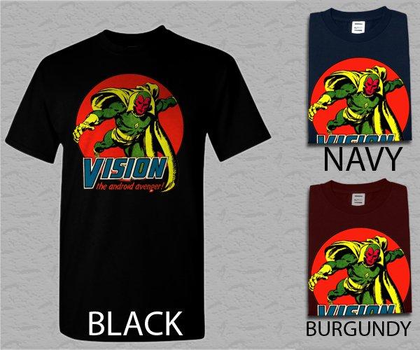 Men T Shirt Vision Marvel Comics The Avengers Adult T-Shirt S - XXL