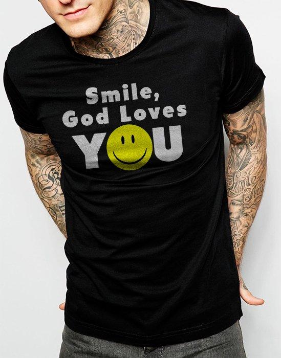 Smile God Loves You Men Black T-Shirt Size S,M,L,Xl,XXL