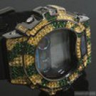 GREEN AND YELLOW TIGER PATTERN ICED OUT G SHOCK