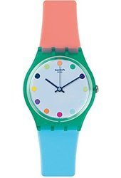Swatch GG219 Candy Parlour White Dial Orange Silicone Band Women Watch NEW