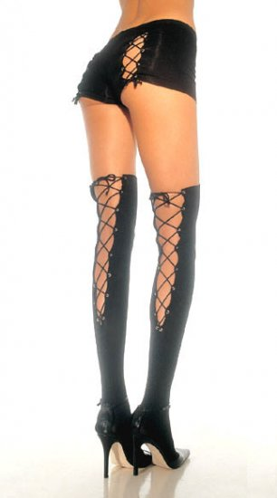 Lycra Thigh Highs with Lace Up Back