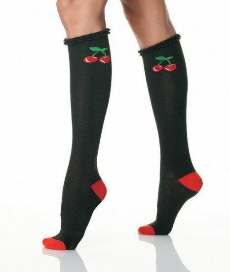 Knee Socks with Ruffle Trim & Woven Cherry Design