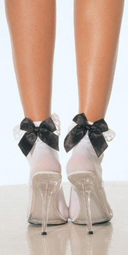 Socks with Satin Bow Tie & Lace Ruffle