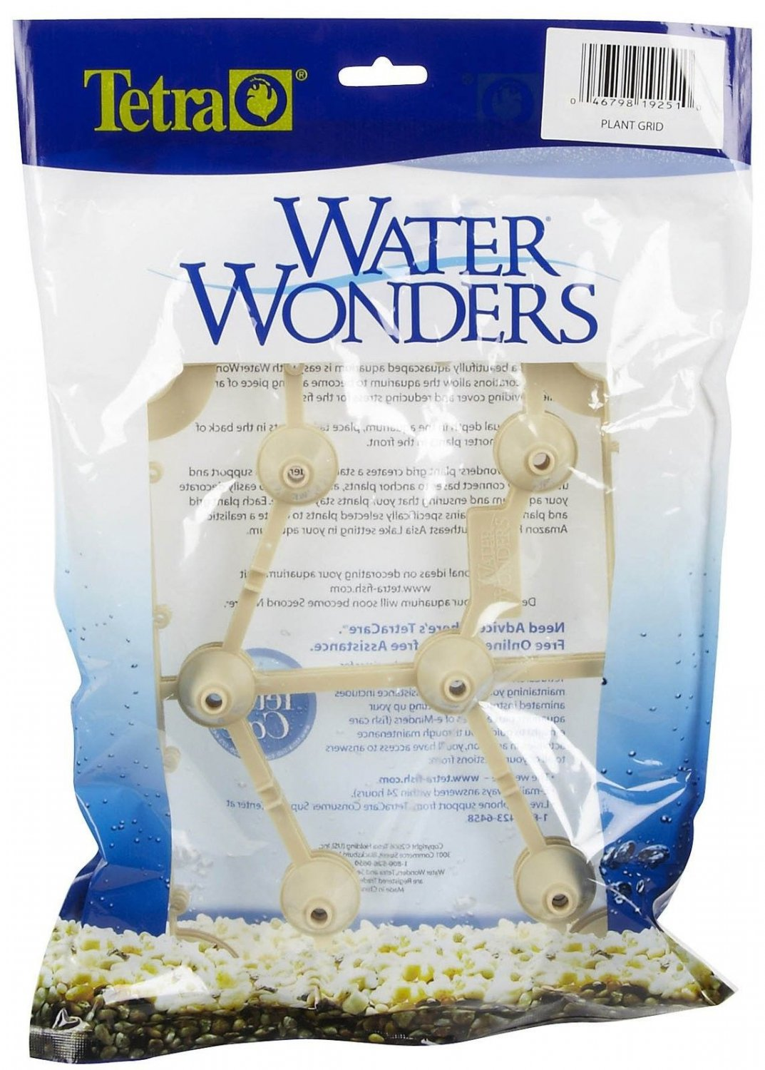 Tetra Water Wonders 3-Pack Plastic Plant Grid for Aquariums and Fish Tanks