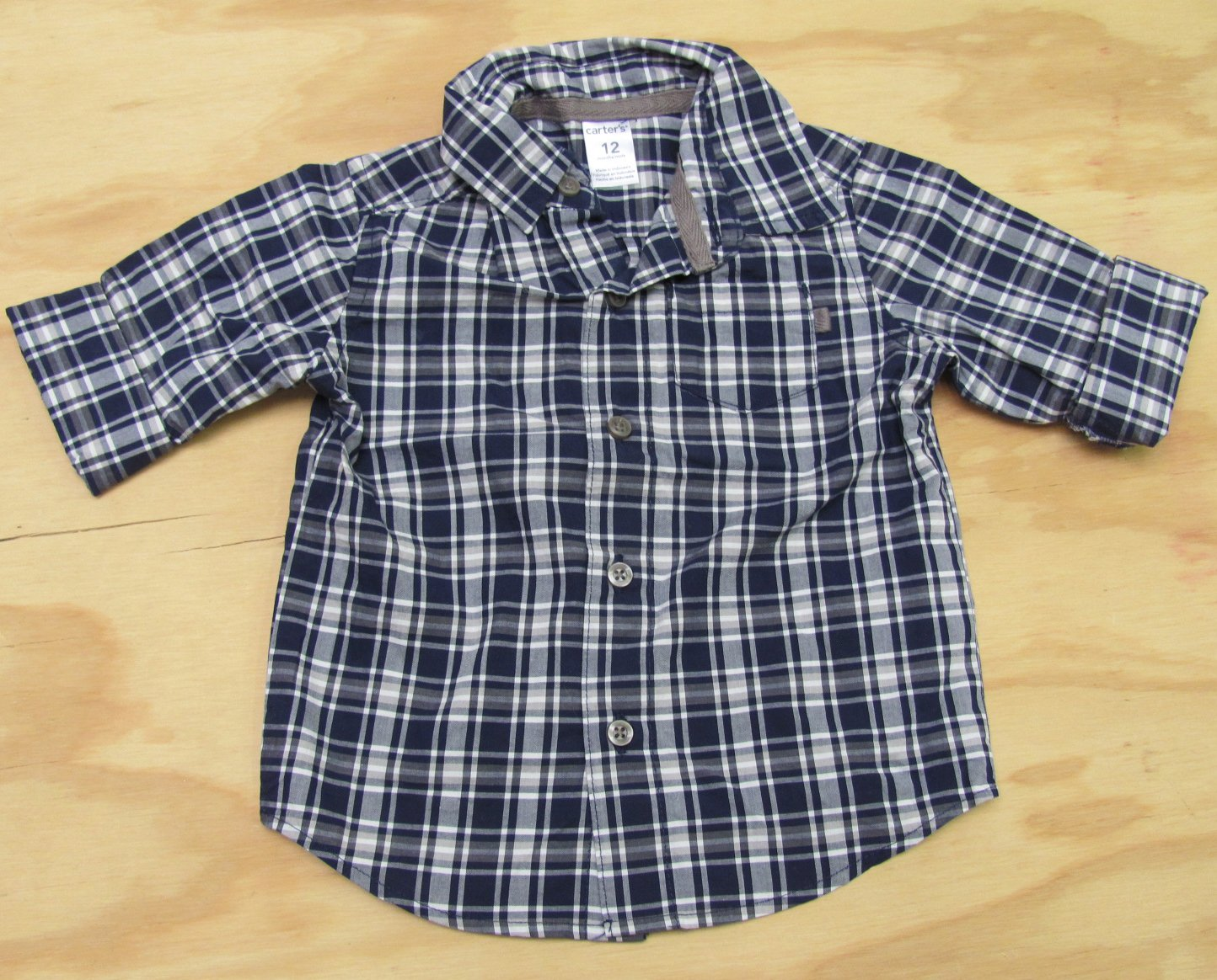 carters baby boys 12 months blue plaid long sleeve button