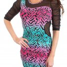 Lumi Juniors S Blue and Pink Zebra Print Mini Dress with Black Mesh Cut-outs
