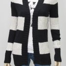 Roxy Juniors XS Free For All Open Cardigan Sweater Black and Gray Stripe