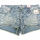 Mudd Juniors size 9 Blue Jean Beach Leopard Print Shorts Frayed Denim Cut-offs